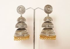 Large Triple Tier Oxidized Silver Jhumkas
