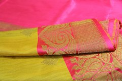Olive Yellow & Hot Pink Tussar Silk Banarasi