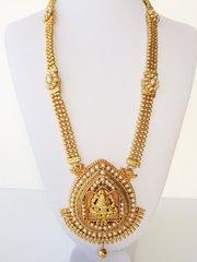Gold & Pearl Lakshmi Haaram with Jhumkas