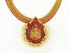 Kemp & Pearl Cluster Lakshmi Attigai with Opulent Jhumkas