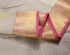 Pale Gray White & Blush Pink Pure Kanchipuram Silk Saree