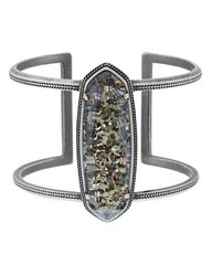 Kendra Scott Lawson Cuff Bracelet in Antique Silver & Crushed Black Pearl