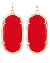 Kendra Scott Danielle Earrings in Gold with Bright Red Glass