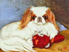 """Foxy and the Pink Gorilla"" ... Japanese Chin, 5x7 Note Cards & Assorted Size Paper & Canvas Prints"