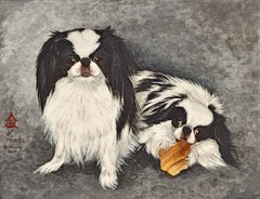 """The Impress and The Imp"" ... Japanese Chin, 5 x 7 Note Cards & Assorted Size Paper & Canvas Prints"