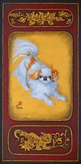 """The Play Bow I"" ... Japanese Chin, 9.25 x 4 (No. 10 Size) Note Cards & 15x30 Canvas Print"