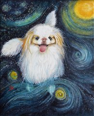 """Mochi"" ... Japanese Chin, 5x7 Note Cards & 8x10 Matted Print"