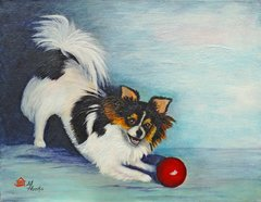 """Let's Play Ball"" ... Long Coat Chihuahua, 5 x 7 Note Cards & 8x10 Paper & Canvas Prints"