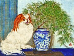 """Foxy and the Ming Vase"" ... Japanese Chin, 5x7 Note Cards & 8x10 Prints"