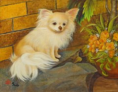 """Just Basking"" ... Long Coat Chihuahua, 5 x 7 Note Cards & Assorted Size Paper & Canvas Prints"