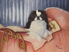 """I Just Love to Read in Bed"" ... Japanese Chin, 5 x 7 Note Cards & 8x10 Matted Paper Print"