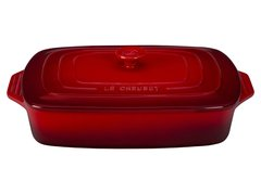 "3.5 qt. [12.5"" x 8.5""] Covered Rectangular Casserole - Cerise"