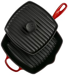 Panini Press and Signature Square Skillet Grill Set - Cerise