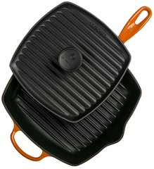 Panini Press and Signature Square Skillet Grill Set - Flame