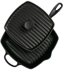 Panini Press and Signature Square Skillet Grill Set - Black