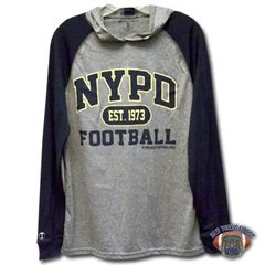 NYPD Finest Football Team Long Sleeve, Navy & Grey, Dri-Fit Hoodie