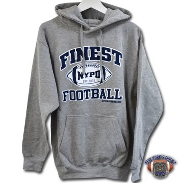 NYPD Finest Football Team Heavy-Weight, Light Gray Pullover Hoodie