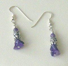 Amethyst Earrings - Nugget Design
