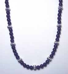 Amethyst Necklace with Silver Beads 40% OFF
