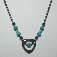 Hematite Heart Necklace with Turquoise Center 40% OFF