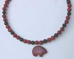 Red Jasper Bear with Onyx | Memory Wire Necklace 25% OFF