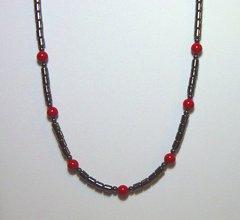 Hematite Necklace with Red Jasper Beads