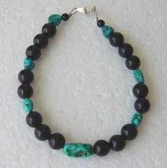 Onyx Bead bracelet with Turquoise Nuggets