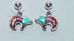 Bear Earrings with Turquoise & Opal