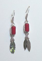 Coral Earrings with Silver Feathers
