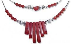 American Indian Jewelry - Red Jasper Spike Necklace 30% OFF
