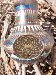 Navajo Pottery - Ceramic Horse Hair Metallic Rainbow Dreamcatcher Vase - NOW 15% OFF