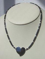 Hematite Heart Necklace - 19 Inch - 30% OFF