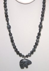Snowflake Obsidian Bear Necklace 25% OFF
