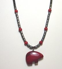 Bear Necklace with Hematite and Red Jasper 20% OFF