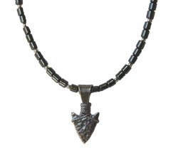 Indian Jewelry - Hematite Necklace with Sterling Silver Arrowhead
