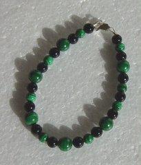 Malachite Bead bracelet with Onyx Beads