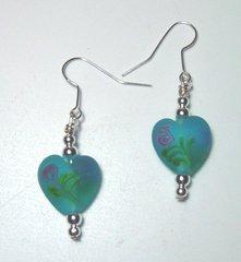 Heart Earrings - Blue Floral - 50% OFF