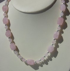 Rose Quartz Nugget Necklace with Silver Beads