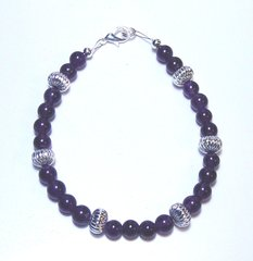 Amethyst Bracelet with Silver Beads