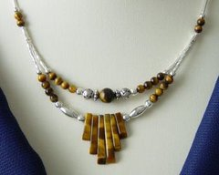 American Indian Jewelry - Tiger Eye Spike Necklace 30% OFF
