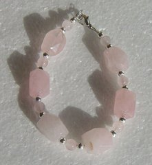 Rose Quartz Nugget and Bead bracelet with Silver