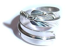 Sterling Silver Adjustable Feather Ring 35% OFF