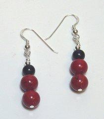 Red Jasper Earrings with Onyx 33% OFF