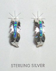Feather Earrings - Sterling Silver with Opal