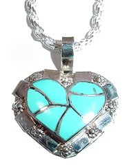 Turquoise Inlay Heart Jewelry -  NOW 40% OFF