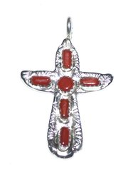 Sterling Silver Cross with Coral 40% OFF