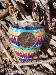 Navajo Pottery - Ceramic Horse Hair Rainbow Dreamcatcher Vase - NOW 15% OFF