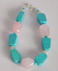 Turquoise Nugget - Rose Quartz Nuggets - Bracelet