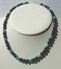 Onyx Necklace with Turquoise Nuggets 35% OFF