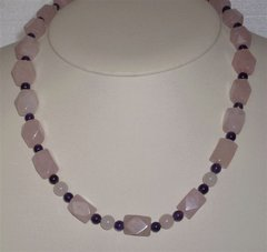 Large Rose Quartz Nugget Necklace with Amethyst